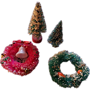 SALE Christmas Miniature Bottle Brush Wreaths and Trees Set