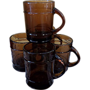 Fireking Amber Glass Ranger Barrel Set of Six Mugs