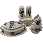 SALE Lefton Christmas Holly Three Piece Set
