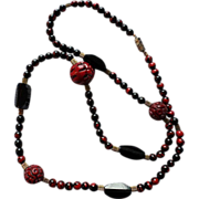 SALE Beautiful Cinnabar and Black Necklace