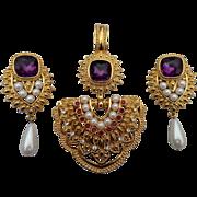 SOLD 1993 Avon Shaill Jhavari Imperial Elegance Pendant and Clip Earrings Set