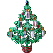 Enamel Christmas Tree Pin with Candle Baguettes