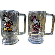 1970s Walt Disney Mickey and Minnie Mouse Drinking Glasses