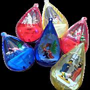 Plastic Jewelbrite Diorama Christmas Ornament Set