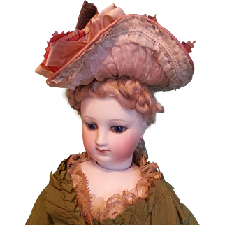 Stunning Rose Silk Satin French Bonnet for Fashion Lady ~ Artist Made