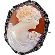 Vintage shell cameo with sterling frame