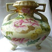 SOLD Nippon vase hand painted roses green mark