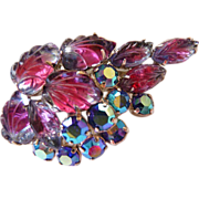 Vintage Tutti Frutti carved raspberry cabs brooch pin