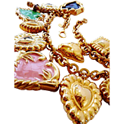 Vintage Escada glass and enamel hearts charm necklace RARE