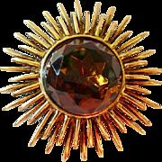 Signed ACCESSOCRAFT atomic sunburst caramel topaz brooch