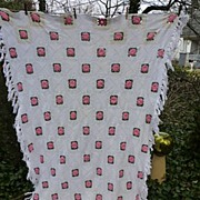 SALE Irish Roses Pink Green White Handmade Crochet Bedspread
