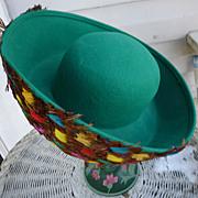SALE Fabulous Feathers Vintage Mr John Label Emerald Green Wool Hat