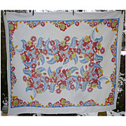 SOLD Red Yellow Blue Flowers Ferns Vintage Print Tablecloth
