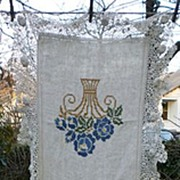 Large Fancy Crochet Trim Floral Cross Stitch Embroidered Heavy Linen Runner