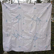 SALE Blue Waterlilies Hand Embroidered White Linen Tablecloth
