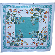 SOLD Aqua Blue Center Bursting with Colorful Flowers Vintage Print Tablecloth