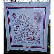 Awesome Alaska Map Souvenir Linen Tablecloth Vintage 1950s