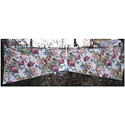 Cottage Roses Tulips Pinks and Greens Barkcloth 2 Pc Valence