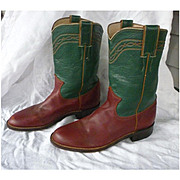 Great Green and Oxblood Two Tone Justin Roper Ladies Boots Size 6
