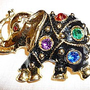 Lucky Elephant  Black Enamel Big Rhinestones Brooch Pin