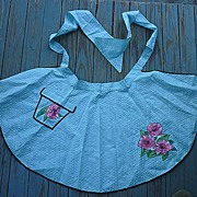 SALE Full Skirt Flower Pot Pocket Vintage Hostess Apron