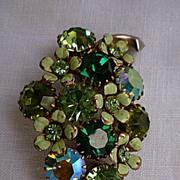 SALE Green Grapes Cluster Weiss Rhinestone and Enamel Brooch