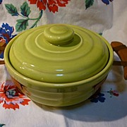 Bauer Chartreuse Ringware Casserole with Hammered Copper Holder Wooden Handles