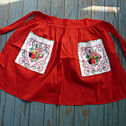 SALE Red with Penn Dutch Print Pockets Vintage Apron