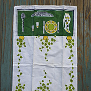 SALE Vintage 50s Green Yellow Black Kitchen Table Setting Towel
