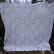 Romantic Roses Quilt Blocks Pattern White Crochet Bedspread