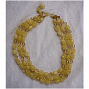 Marvella Three Strand Yellow Crystal and Glass Beads Necklace