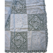 SOLD Snow White Army Navy Embroidered and Lace Blocks Tablecloth
