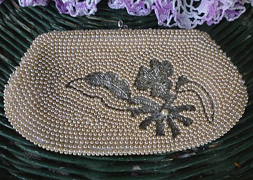 Hand Beaded White Satin Clutch Purse Pearls Flowers Vintage Japan