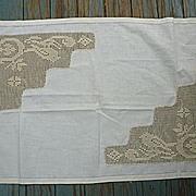 Birds and Flowers Crochet and Linen Runner Centerpiece