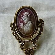 Swivel Frame Renaissance Revival Cameo Tassel Brooch