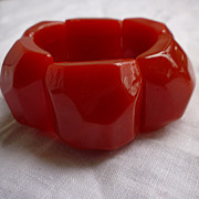 SALE Chunky Faceted Red Lucite Expansion Bracelet