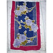 SALE Vintage Vera Violet Blue Roses Silk Scarf