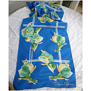 SALE Oscar de la Renta  Cream Blue Green Flowers on Blue Silk Scarf