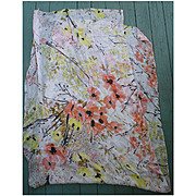 Vintage Vera Coral Poppies Branches Yellow Flowers Print Silk Scarf Extra Long