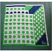 Vintage Vera Pop Art Big Dots Green Navy Blue White Silk Scarf