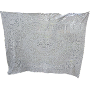 SOLD Romantic Cherubs and Courting Couples in Garden Creamy White Lace Tablecloth
