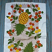Pineapples Cherries and Strawberries Linen Towel