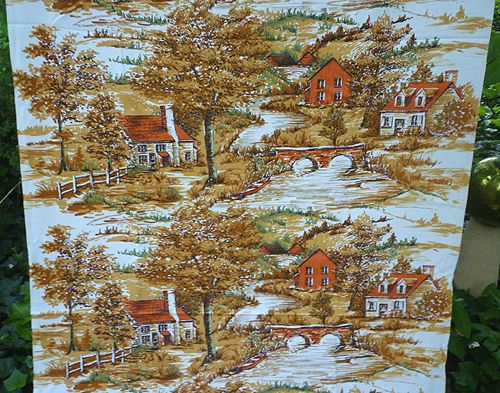 Rustic Landscape with Houses by River Print Barkcloth 3 Yds