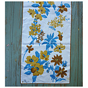 SALE Vintage Vera Turquoise and Brown Flowers Print Scarf