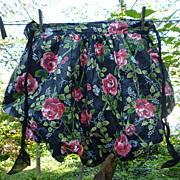 SALE Pink Roses on Black Polished Chintz with Organdy Vintage Apron