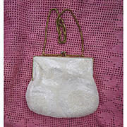 SALE Sparkling Beaded White Satin Evening Bag Four Arches Shell Pattern