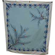Big Blue Sky Pine Branches Print 50's Tablecloth