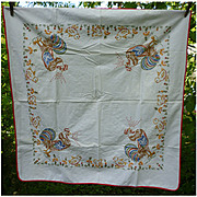 Roosters Crowing and Baby Chicks Embroidered Tablecloth