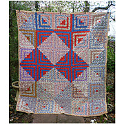 Pioneer Block Log Cabin Pattern Patchwork Quilt Comfort Yellow Backing