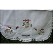 Embroidered Dainty Flower Baskets White Crochet Edging Runner
